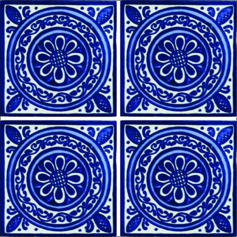 New Items / Talavera Tile 4x4 inch (90 pieces) - Style AZ079 / These beatiful handpainted Mexican Talavera tiles will give a colorful decorative touch to your bathrooms, vanities, window surrounds, fireplaces and more.
