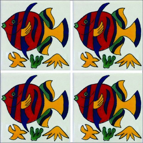 New Items / Talavera Tile 4x4 inch (90 pieces) - Style AZ082 / These beatiful handpainted Mexican Talavera tiles will give a colorful decorative touch to your bathrooms, vanities, window surrounds, fireplaces and more.