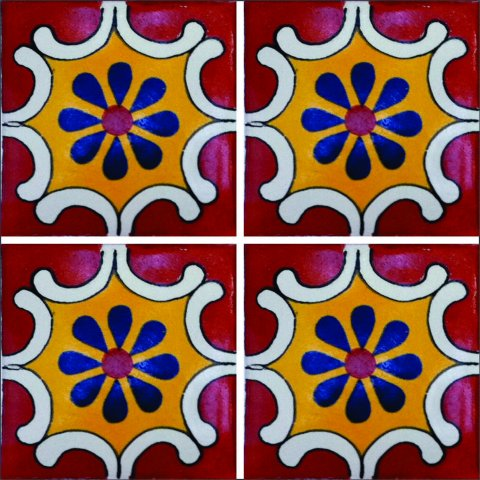 New Items / Talavera Tile 4x4 inch (90 pieces) - Style AZ084 / These beatiful handpainted Mexican Talavera tiles will give a colorful decorative touch to your bathrooms, vanities, window surrounds, fireplaces and more.