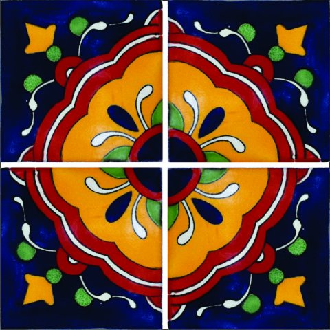 New Items / Talavera Tile 4x4 inch (90 pieces) - Style AZ088 / These beatiful handpainted Mexican Talavera tiles will give a colorful decorative touch to your bathrooms, vanities, window surrounds, fireplaces and more.