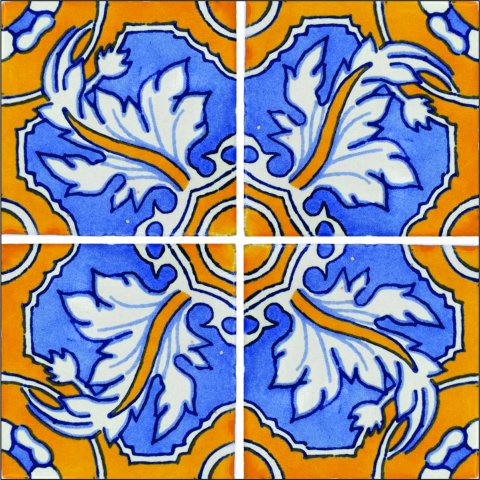 New Items / Talavera Tile 4x4 inch (90 pieces) - Style AZ089 / These beatiful handpainted Mexican Talavera tiles will give a colorful decorative touch to your bathrooms, vanities, window surrounds, fireplaces and more.