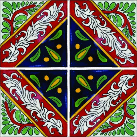 New Items / Talavera Tile 4x4 inch (90 pieces) - Style AZ090 / These beatiful handpainted Mexican Talavera tiles will give a colorful decorative touch to your bathrooms, vanities, window surrounds, fireplaces and more.