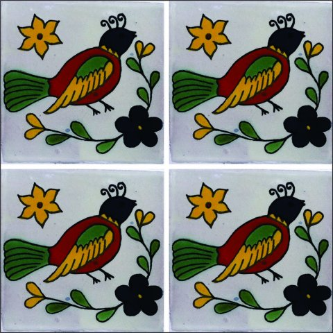 New Items / Talavera Tile 4x4 inch (90 pieces) - Style AZ093 / These beatiful handpainted Mexican Talavera tiles will give a colorful decorative touch to your bathrooms, vanities, window surrounds, fireplaces and more.