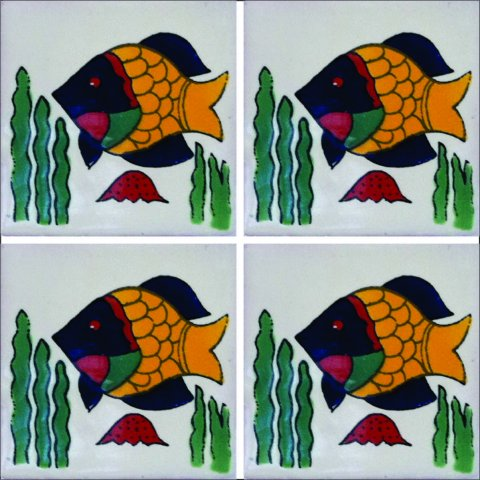 New Items / Talavera Tile 4x4 inch (90 pieces) - Style AZ097 / These beatiful handpainted Mexican Talavera tiles will give a colorful decorative touch to your bathrooms, vanities, window surrounds, fireplaces and more.