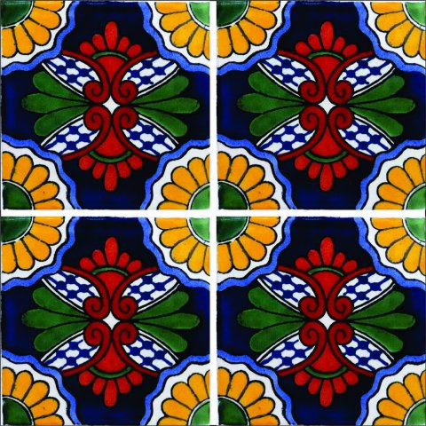 New Items / Talavera Tile 4x4 inch (90 pieces) - Style AZ104 / These beatiful handpainted Mexican Talavera tiles will give a colorful decorative touch to your bathrooms, vanities, window surrounds, fireplaces and more.