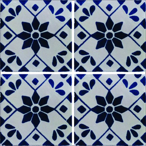 New Items / Talavera Tile 4x4 inch (90 pieces) - Style AZ105 / These beatiful handpainted Mexican Talavera tiles will give a colorful decorative touch to your bathrooms, vanities, window surrounds, fireplaces and more.