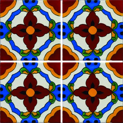 New Items / Talavera Tile 4x4 inch (90 pieces) - Style AZ111 / These beatiful handpainted Mexican Talavera tiles will give a colorful decorative touch to your bathrooms, vanities, window surrounds, fireplaces and more.