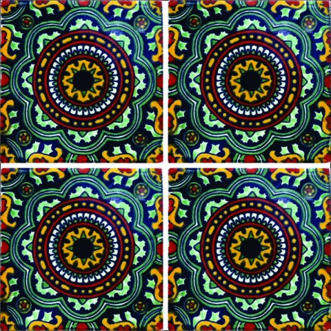 New Items / Talavera Tile 4x4 inch (90 pieces) - Style AZ112 / These beatiful handpainted Mexican Talavera tiles will give a colorful decorative touch to your bathrooms, vanities, window surrounds, fireplaces and more.