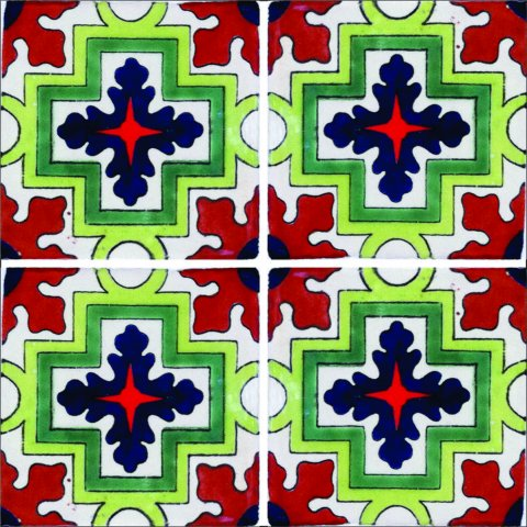 New Items / Talavera Tile 4x4 inch (90 pieces) - Style AZ115 / These beatiful handpainted Mexican Talavera tiles will give a colorful decorative touch to your bathrooms, vanities, window surrounds, fireplaces and more.