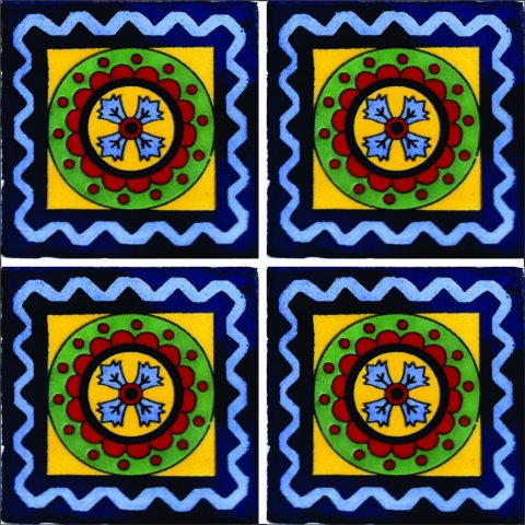 New Items / Talavera Tile 4x4 inch (90 pieces) - Style AZ116 / These beatiful handpainted Mexican Talavera tiles will give a colorful decorative touch to your bathrooms, vanities, window surrounds, fireplaces and more.