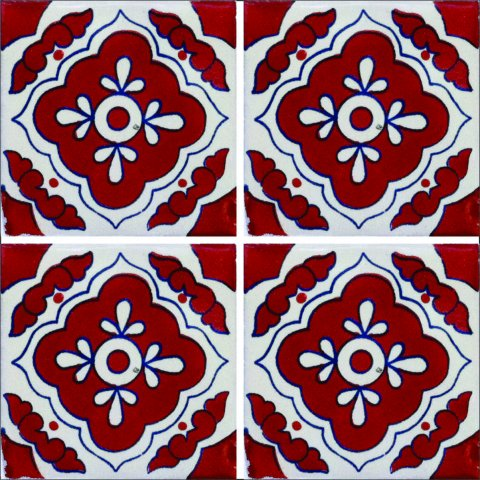 New Items / Talavera Tile 4x4 inch (90 pieces) - Style AZ119 / These beatiful handpainted Mexican Talavera tiles will give a colorful decorative touch to your bathrooms, vanities, window surrounds, fireplaces and more.