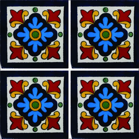 New Items / Talavera Tile 4x4 inch (90 pieces) - Style AZ120 / These beatiful handpainted Mexican Talavera tiles will give a colorful decorative touch to your bathrooms, vanities, window surrounds, fireplaces and more.