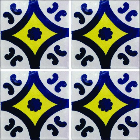 New Items / Talavera Tile 4x4 inch (90 pieces) - Style AZ121 / These beatiful handpainted Mexican Talavera tiles will give a colorful decorative touch to your bathrooms, vanities, window surrounds, fireplaces and more.
