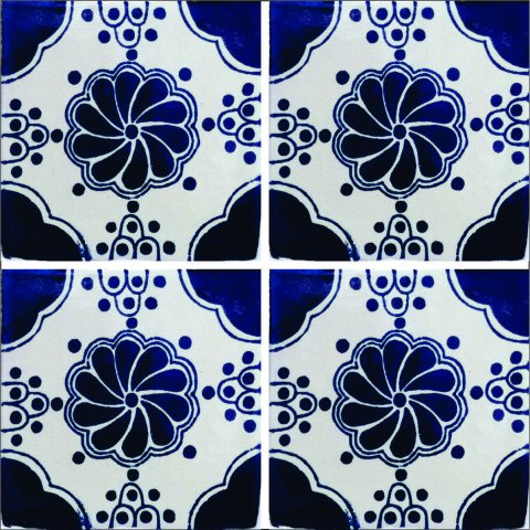 New Items / Talavera Tile 4x4 inch (90 pieces) - Style AZ122 / These beatiful handpainted Mexican Talavera tiles will give a colorful decorative touch to your bathrooms, vanities, window surrounds, fireplaces and more.