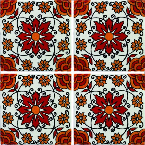 New Items / Talavera Tile 4x4 inch (90 pieces) - Style AZ125 / These beatiful handpainted Mexican Talavera tiles will give a colorful decorative touch to your bathrooms, vanities, window surrounds, fireplaces and more.