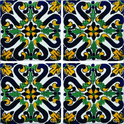 New Items / Talavera Tile 4x4 inch (90 pieces) - Style AZ126 / These beatiful handpainted Mexican Talavera tiles will give a colorful decorative touch to your bathrooms, vanities, window surrounds, fireplaces and more.