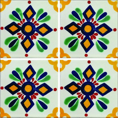 New Items / Talavera Tile 4x4 inch (90 pieces) - Style AZ127 / These beatiful handpainted Mexican Talavera tiles will give a colorful decorative touch to your bathrooms, vanities, window surrounds, fireplaces and more.