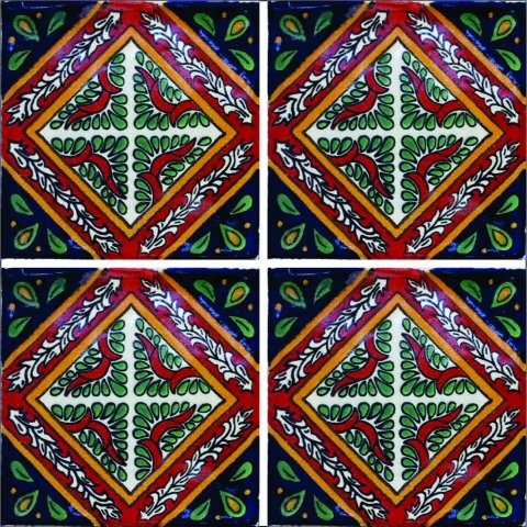 New Items / Talavera Tile 4x4 inch (90 pieces) - Style AZ128 / These beatiful handpainted Mexican Talavera tiles will give a colorful decorative touch to your bathrooms, vanities, window surrounds, fireplaces and more.