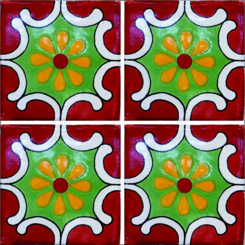 New Items / Talavera Tile 4x4 inch (90 pieces) - Style AZ129 / These beatiful handpainted Mexican Talavera tiles will give a colorful decorative touch to your bathrooms, vanities, window surrounds, fireplaces and more.