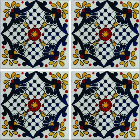 New Items / Talavera Tile 4x4 inch (90 pieces) - Style AZ130 / These beatiful handpainted Mexican Talavera tiles will give a colorful decorative touch to your bathrooms, vanities, window surrounds, fireplaces and more.