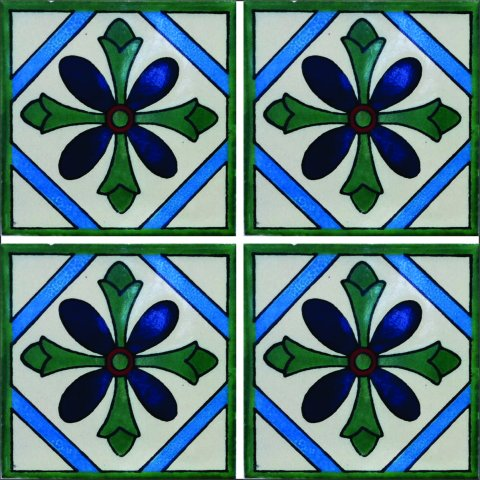 New Items / Talavera Tile 4x4 inch (90 pieces) - Style AZ132 / These beatiful handpainted Mexican Talavera tiles will give a colorful decorative touch to your bathrooms, vanities, window surrounds, fireplaces and more.