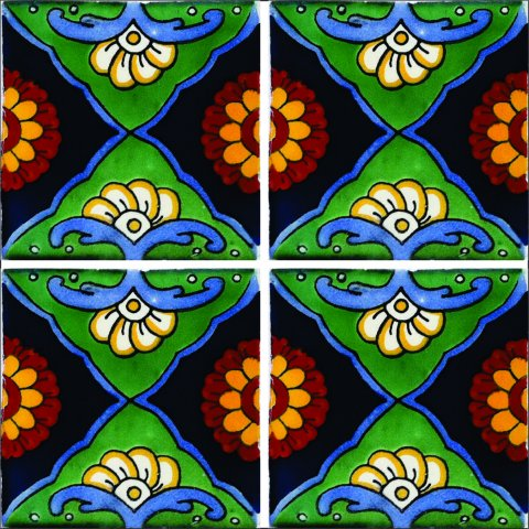 New Items / Talavera Tile 4x4 inch (90 pieces) - Style AZ133 / These beatiful handpainted Mexican Talavera tiles will give a colorful decorative touch to your bathrooms, vanities, window surrounds, fireplaces and more.