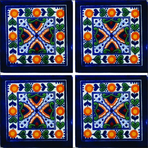 New Items / Talavera Tile 4x4 inch (90 pieces) - Style AZ134 / These beatiful handpainted Mexican Talavera tiles will give a colorful decorative touch to your bathrooms, vanities, window surrounds, fireplaces and more.