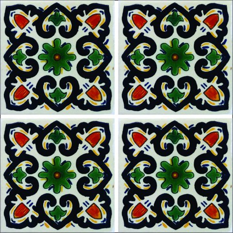 New Items / Talavera Tile 4x4 inch (90 pieces) - Style AZ135 / These beatiful handpainted Mexican Talavera tiles will give a colorful decorative touch to your bathrooms, vanities, window surrounds, fireplaces and more.