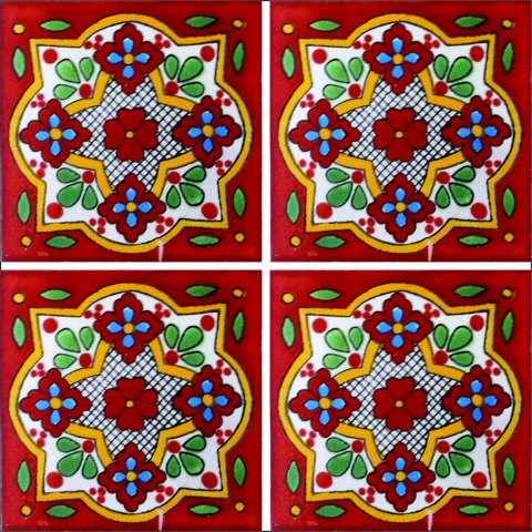 New Items / Talavera Tile 4x4 inch (90 pieces) - Style AZ137 / These beatiful handpainted Mexican Talavera tiles will give a colorful decorative touch to your bathrooms, vanities, window surrounds, fireplaces and more.