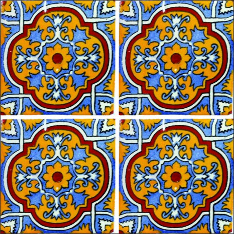 New Items / Talavera Tile 4x4 inch (90 pieces) - Style AZ139 / These beatiful handpainted Mexican Talavera tiles will give a colorful decorative touch to your bathrooms, vanities, window surrounds, fireplaces and more.