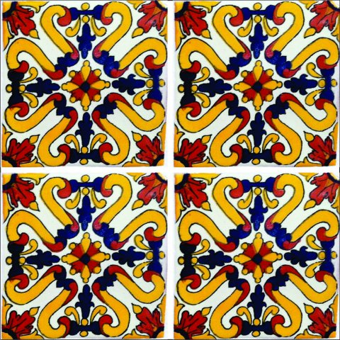 New Items / Talavera Tile 4x4 inch (90 pieces) - Style AZ141 / These beatiful handpainted Mexican Talavera tiles will give a colorful decorative touch to your bathrooms, vanities, window surrounds, fireplaces and more.