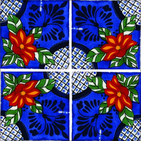 New Items / Talavera Tile 4x4 inch (90 pieces) - Style AZ144 / These beatiful handpainted Mexican Talavera tiles will give a colorful decorative touch to your bathrooms, vanities, window surrounds, fireplaces and more.