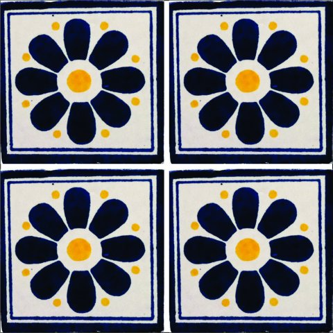 New Items / Talavera Tile 4x4 inch (90 pieces) - Style AZ146 / These beatiful handpainted Mexican Talavera tiles will give a colorful decorative touch to your bathrooms, vanities, window surrounds, fireplaces and more.