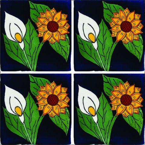 New Items / Talavera Tile 4x4 inch (90 pieces) - Style AZ148 / These beatiful handpainted Mexican Talavera tiles will give a colorful decorative touch to your bathrooms, vanities, window surrounds, fireplaces and more.