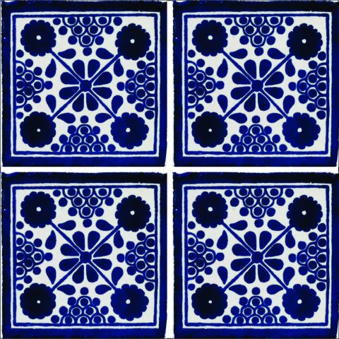 New Items / Talavera Tile 4x4 inch (90 pieces) - Style AZ149 / These beatiful handpainted Mexican Talavera tiles will give a colorful decorative touch to your bathrooms, vanities, window surrounds, fireplaces and more.