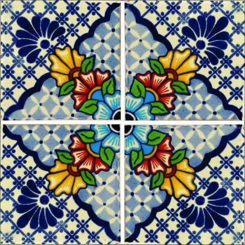New Items / Talavera Tile 4x4 inch (90 pieces) - Style AZ150 / These beatiful handpainted Mexican Talavera tiles will give a colorful decorative touch to your bathrooms, vanities, window surrounds, fireplaces and more.