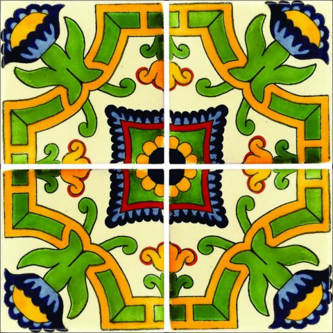 New Items / Talavera Tile 4x4 inch (90 pieces) - Style AZ151 / These beatiful handpainted Mexican Talavera tiles will give a colorful decorative touch to your bathrooms, vanities, window surrounds, fireplaces and more.