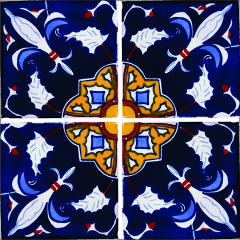 New Items / Talavera Tile 4x4 inch (90 pieces) - Style AZ152 / These beatiful handpainted Mexican Talavera tiles will give a colorful decorative touch to your bathrooms, vanities, window surrounds, fireplaces and more.