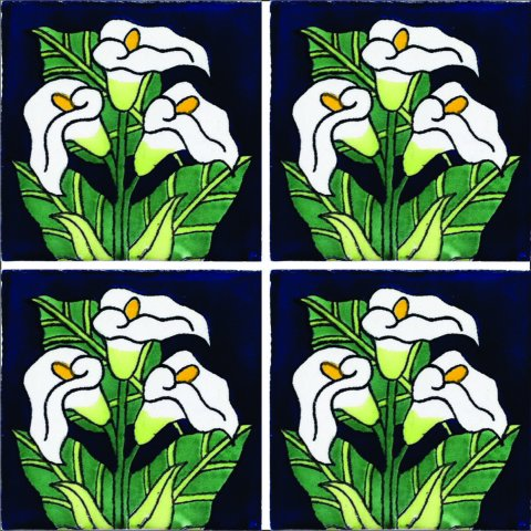 New Items / Talavera Tile 4x4 inch (90 pieces) - Style AZ153 / These beatiful handpainted Mexican Talavera tiles will give a colorful decorative touch to your bathrooms, vanities, window surrounds, fireplaces and more.