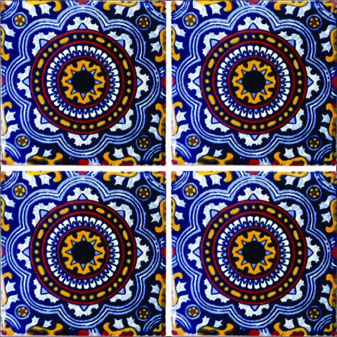 New Items / Talavera Tile 4x4 inch (90 pieces) - Style AZ154 / These beatiful handpainted Mexican Talavera tiles will give a colorful decorative touch to your bathrooms, vanities, window surrounds, fireplaces and more.