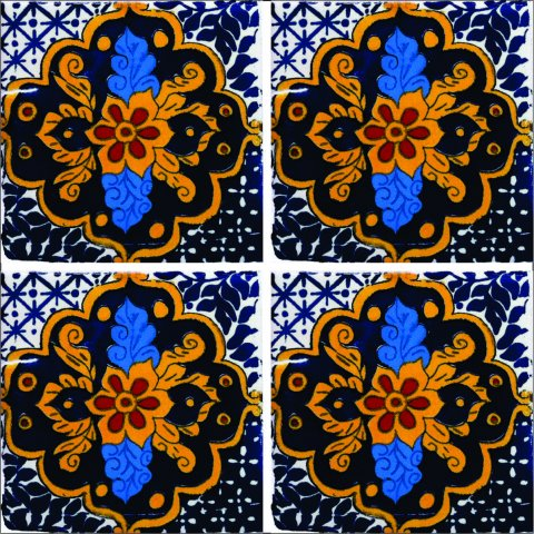 New Items / Talavera Tile 4x4 inch (90 pieces) - Style AZ156 / These beatiful handpainted Mexican Talavera tiles will give a colorful decorative touch to your bathrooms, vanities, window surrounds, fireplaces and more.