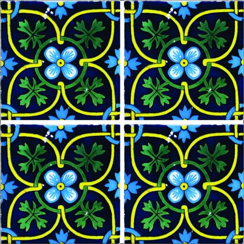 New Items / Talavera Tile 4x4 inch (90 pieces) - Style AZ157 / These beatiful handpainted Mexican Talavera tiles will give a colorful decorative touch to your bathrooms, vanities, window surrounds, fireplaces and more.