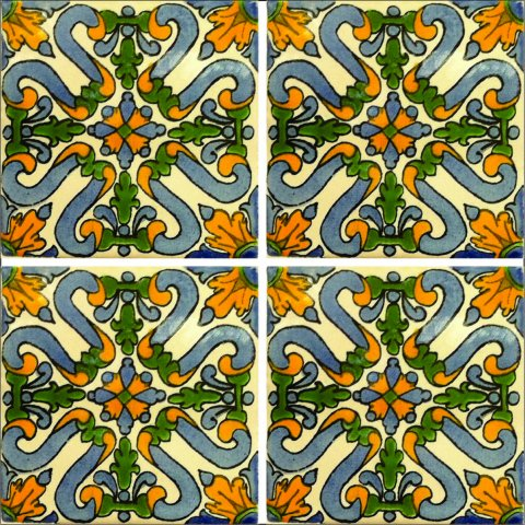New Items / Talavera Tile 4x4 inch (90 pieces) - Style AZ158 / These beatiful handpainted Mexican Talavera tiles will give a colorful decorative touch to your bathrooms, vanities, window surrounds, fireplaces and more.