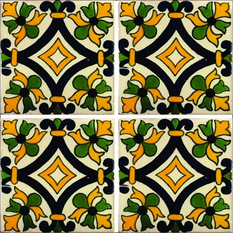 New Items / Talavera Tile 4x4 inch (90 pieces) - Style AZ159 / These beatiful handpainted Mexican Talavera tiles will give a colorful decorative touch to your bathrooms, vanities, window surrounds, fireplaces and more.