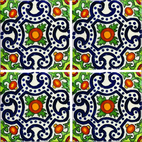 New Items / Talavera Tile 4x4 inch (90 pieces) - Style AZ160 / These beatiful handpainted Mexican Talavera tiles will give a colorful decorative touch to your bathrooms, vanities, window surrounds, fireplaces and more.