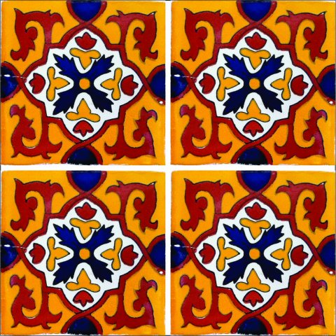 New Items / Talavera Tile 4x4 inch (90 pieces) - Style AZ161 / These beatiful handpainted Mexican Talavera tiles will give a colorful decorative touch to your bathrooms, vanities, window surrounds, fireplaces and more.