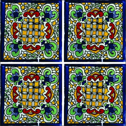 New Items / Talavera Tile 4x4 inch (90 pieces) - Style AZ162 / These beatiful handpainted Mexican Talavera tiles will give a colorful decorative touch to your bathrooms, vanities, window surrounds, fireplaces and more.