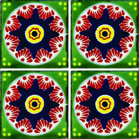 New Items / Talavera Tile 4x4 inch (90 pieces) - Style AZ163 / These beatiful handpainted Mexican Talavera tiles will give a colorful decorative touch to your bathrooms, vanities, window surrounds, fireplaces and more.