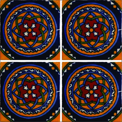 New Items / Talavera Tile 4x4 inch (90 pieces) - Style AZ164 / These beatiful handpainted Mexican Talavera tiles will give a colorful decorative touch to your bathrooms, vanities, window surrounds, fireplaces and more.