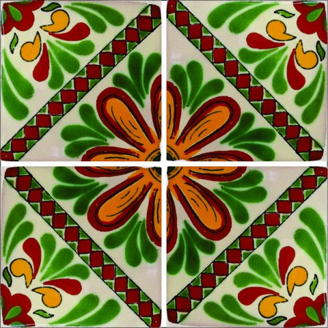 New Items / Talavera Tile 4x4 inch (90 pieces) - Style AZ165 / These beatiful handpainted Mexican Talavera tiles will give a colorful decorative touch to your bathrooms, vanities, window surrounds, fireplaces and more.